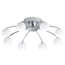 Plafonnier LED Verona, 8 bras, nickel mat