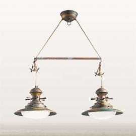 Suspension Baia à 2 lampes verte brunie