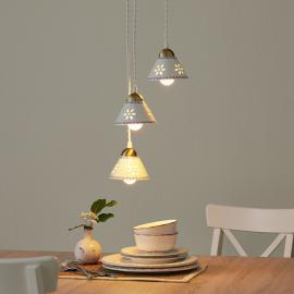 Suspension 3 lampes NONNA en céramique blanche