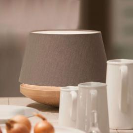 Lampe à poser Kjell - bois de chêne et lin, iron