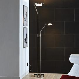 Lampadaire LED Sarrione en acier, nickel mat