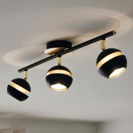 Plafonnier LED noir-or Nocito - 3 têtes