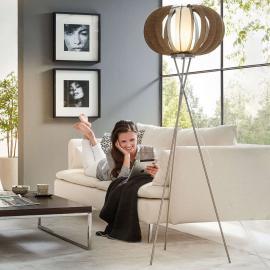 Lampadaire LED trépied Stellato en bois foncé