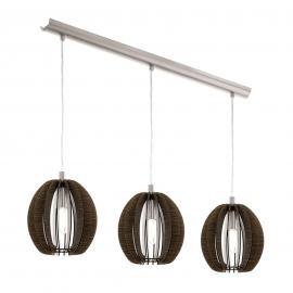 Suspension Cossano à trois lampes en bois