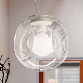 Suspension en verre Eyes à diffuseur transparent