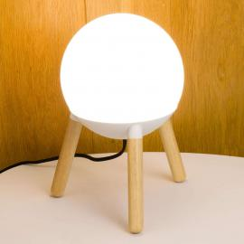 Lampe à poser Mine trépied, élément métal blanc
