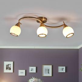 Plafonnier OLIVER laiton ancien à 3 lampes