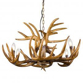 Suspension insolite Waleah bois de cerf à 6 lampes
