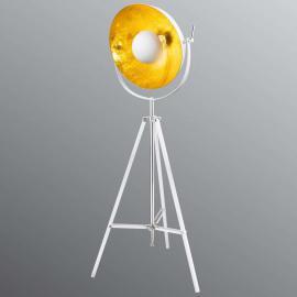 Lampadaire trépied Xirena blanc, intérieur doré
