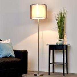 Magnifique lampadaire Nica avec abat-jour gris