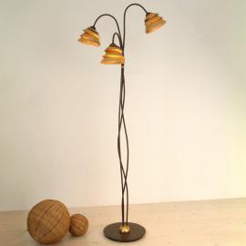 Impressionant lampadaire SNAIL 3 amp. brun et doré