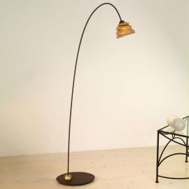 Gracieux lampadaire SNAIL 1 amp. fer, brun et doré