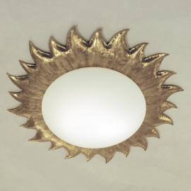 Plafonnier doré SONNE avec verre opale mat