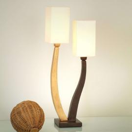 Jolie lampe à poser QUADRANGOLARE, dorée, 2 lps.