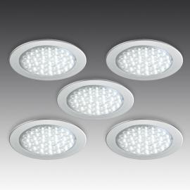Set de 5 spots encastrables R 68-LED aspect inox