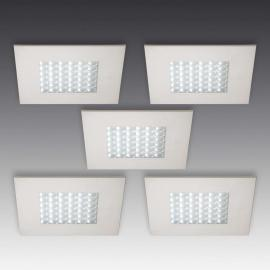 Set de 5 spots encastrables LED Q 68 aspect inox