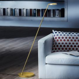 Lampadaire LED inclinable Plano S, laiton