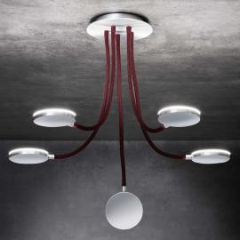 Plafonnier LED à 5 lampes Flex D5, bras rouges