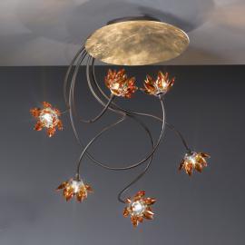 Plafonnier floral FIORELLA à 6 lampes ambre