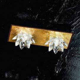 Plafonnier à 2 lampes FIORE feuille d'or cristal