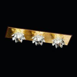 Plafonnier à 3 lampes FIORE feuille d'or cristal