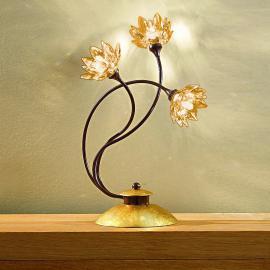 Lampe à poser florale FIORELLA cristal ambre
