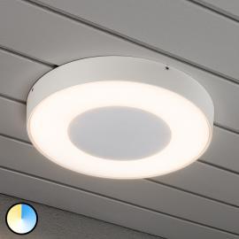 Plafonnier d'extérieur LED rond Carrara en blanc