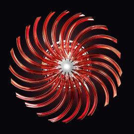 Plafonnier rouge RONDO en verre de Murano