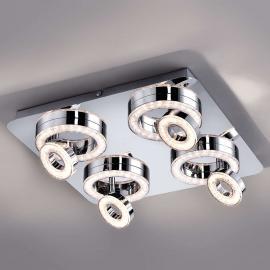 Plafonnier LED carré Tim avec huit anneaux