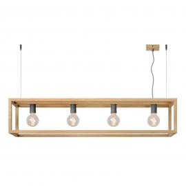 Suspension Oris, aspect naturel, 4 lampes
