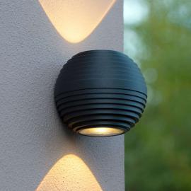 Applique d'extérieur LED ronde Ayo à deux lampes