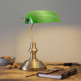 Lampe à poser classique Bankers 42 cm verte
