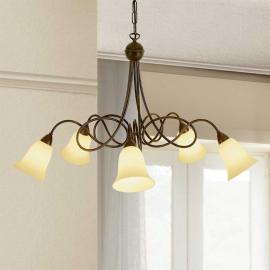 Suspension rustique Michele à 5 lampes