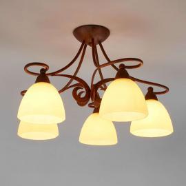 Plafonnier rustique Ginevra à cinq lampes