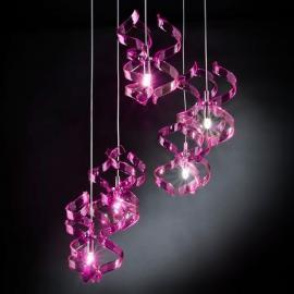 Suspension asymétrique MAGENTA, 5 lampes