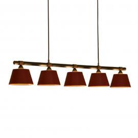 Suspension LIVING TABLE à 5 lampes rouge