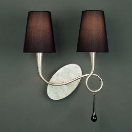 Applique à 2 lampes Paola avec abat-jour en tissu