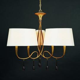 Suspension en tissu à 6 lampes Paola de couleur or