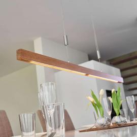 Suspension LED en chêne Nora, 118 cm