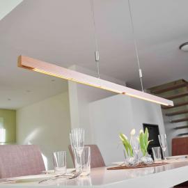 Suspension LED en chêne Nora, 158 cm