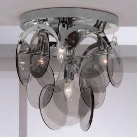 Plafonnier Carolo 4 lampes, pendentifs de verre