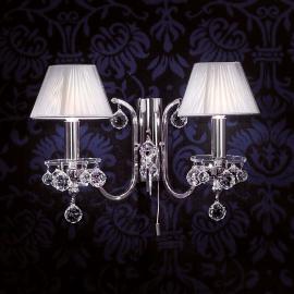 Applique textile argentée Kristalldesign 2 lampes