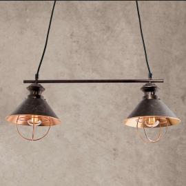 Suspension Shanta à deux lampes, en cuivre noir