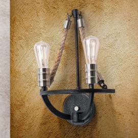 Applique à deux lampes Gita, style rustique
