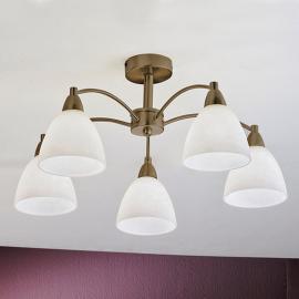 Plafonnier Kinga à 5 lampes, laiton vieilli