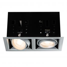Spot LED encastrable titane Cardano, à 2 lampes