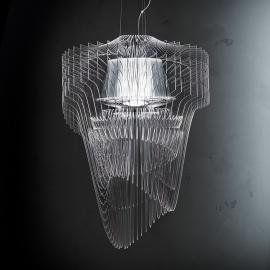Suspension LED design transparente Aria, 75 cm