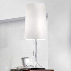 Lampe à poser en textile blanc Vérone à tirette