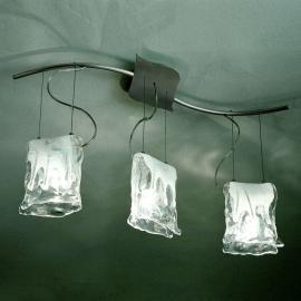 Suspension MURANO à 3 lampes avec verre albâtre