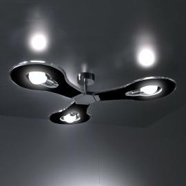 Plafonnier innovant à 3 lampes Flat noir